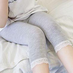 Cuckoo - Kids Lace Trim Leggings
