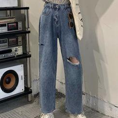Sugamilkus - High-Waist Distressed Wide-Leg Jeans