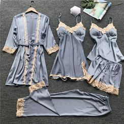 Almilo - Pajama Set: Crochet Trim Pajama Dress + Tie-Waist Robe + Camisole Top + Shorts + Pants