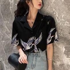 Windflower(ウィンドフラワー) - 5分袖クレーンプリントシャツ
