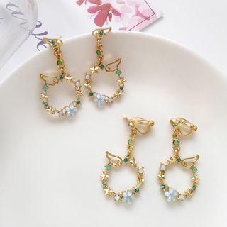 Siatra - Rhinestone Floral & Wing Hoop Earrings / Bracelet / Hair Pins