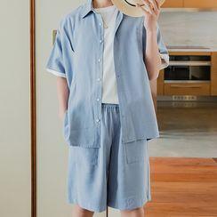 CHIC ERRO  - Set: Plain Short-Sleeve Shirt + Band-Waist Straight-Cut Shorts