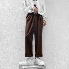 Freehop - High-Waist Woolen Straight Leg Pants