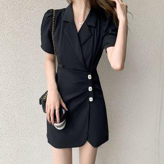 MANIN - Short-Sleeve Plain Blazer Dress