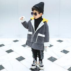 Piggy & Kids - Kids Hooded Fleece-Lined Corduroy Buttoned Jacket