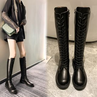 Simply Walk - Faux Leather Lace Up Knee-High Tall Boots