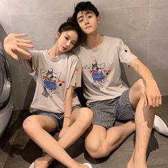 Endormi - Couple Matching Pajama Set: Short-Sleeve Dog Print T-Shirt + Striped Shorts