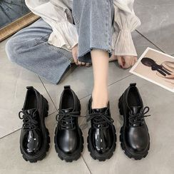 hunigala - Plain Platform Lace-Up Shoes