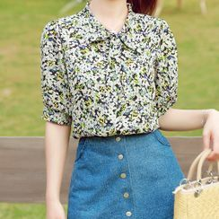 Gray House - Floral Tie-Neck Short-Sleeve Blouse