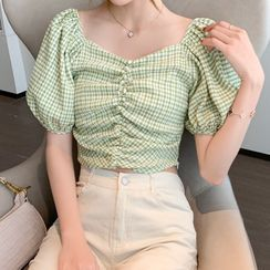 Gray House - Plaid Puff-Sleeve Shirred Cropped Blouse