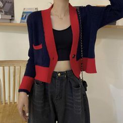 Magimomo - Two-Tone Cropped Cardigan