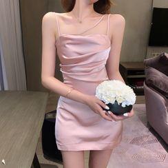 Manicotto - Sleeveless Shirred Satin Sheath Dress