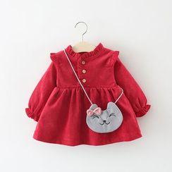 Hecto - Kids Set: Long-Sleeve Ruffled Dress + Cat Crossbody Bag
