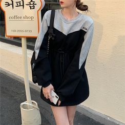 Maisee - Drawstring-Waist Mini Sweatshirt Dress