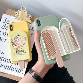 Bellafone - Cartoon Print Mirrored Phone Case with Hair Comb - iPhone 11 Pro Max / 11 Pro / 11 / SE / XS Max / XS / XR / X / SE 2 / 8 / 8 Plus / 7 / 7 Plus