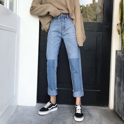 CosmoCorner - Two-Tone Straight-Cut Cropped Jeans