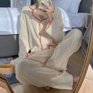 Sadelle - 家居服套装: 配色边衬衫 + 家居裤