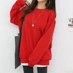 Seoul Fashion - Colored Fleece-Lined Sweatshirt