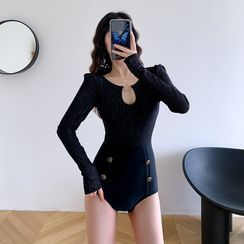 Aluli - Lace Panel Long-Sleeve Swimsuit