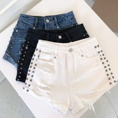 Dear Yours - Distressed Studded Denim Shorts
