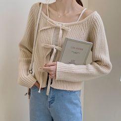 Rorah - Lace-Up Rib Knit Cardigan / Camisole Top