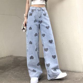 INStudio - Heart Print Wide-Leg Jeans