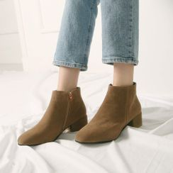 Wifky - Block-Heel Suedette Ankle Boots