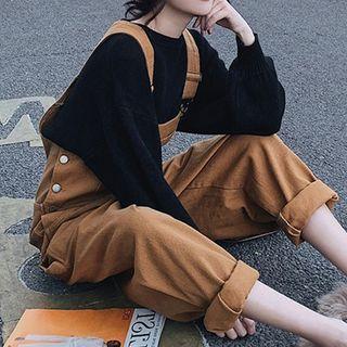 Claudestin - 套裝: 純色衛衣 + 背帶褲