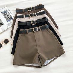 DIYI - Plain High-Waist Shorts With Belt