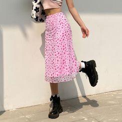 Honet - Floral Print Mesh Overlay Skirt