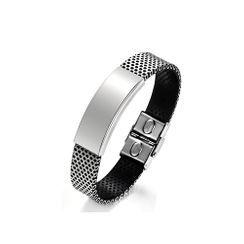 BELEC - 時尚個性寬版幾何矩形316L 鋼網帶皮質手鏈