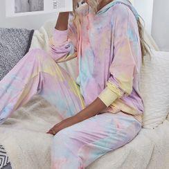 ALISO - 家居服套装:扎染套衫连帽衫 + 裤