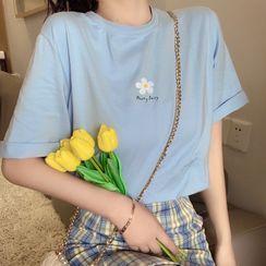 Cloud Nine - Flower Print Short-Sleeve T-Shirt