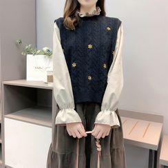 Lilad - 套装: 纯色衬衫 + 绣花麻花针织毛衣马甲