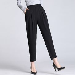 Jakart - Plain Cropped Tapered Dress Pants