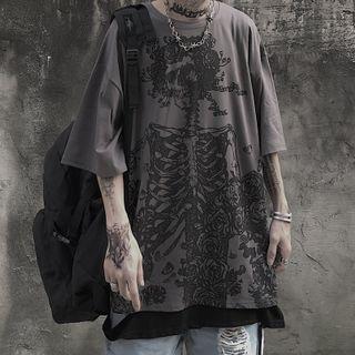 Malnia Home - Oversized Skull Print Short-Sleeved Tee
