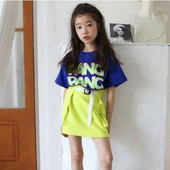 Cynanne - 小童字母短袖T裇 / 飾口袋A字裙
