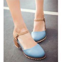 Freesia(フリージア) - Color Panel Chunky Heel Sandals