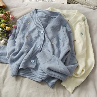 Lemongrass - Pointelle Knit Cardigan with Flower Embroidery