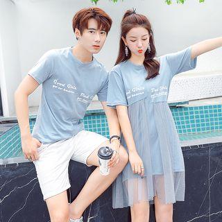 Azure - Women Short-Sleeve Lettering T-Shirt Dress / Men Lettering T-Shirt