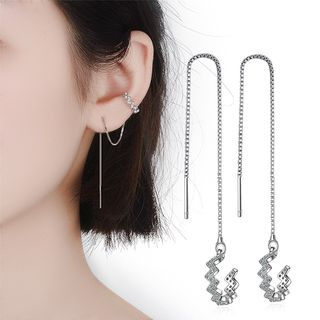 Knick Knack - Rhinestone Wavy Ear Cuff Threader Earrings