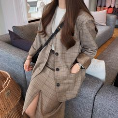 Yunhouse - 格子單排扣西裝外套 / A字中長裙