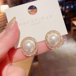 True Glam(トゥルーグラム) - Faux Pearl Rhinestone Earring