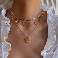 Princess Cat - Rhinestone Butterfly Pendant Layered Choker Necklace
