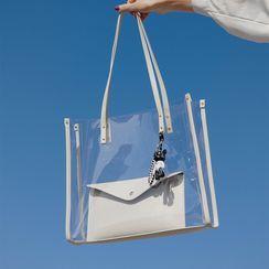 Anadelta - Set: Transparent Tote Bag + Clutch