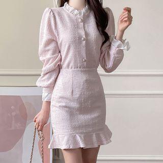 MyFiona - Tweed Set: Contrast-Frilled Blouse + Ruffled Miniskirt