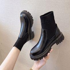 Novice - 假兩件襪子短靴
