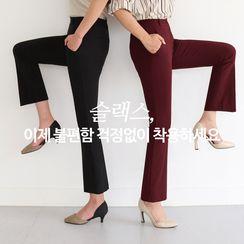 CLICK - Flat-Front Boot-Cut Dress Pants