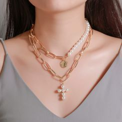 B.muse - Alloy Faux Pearl Cross Pendant Layered Choker Necklace