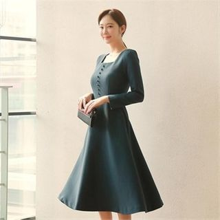 Styleberry - Square-Neck Button-Front A-Line Dress with Belt